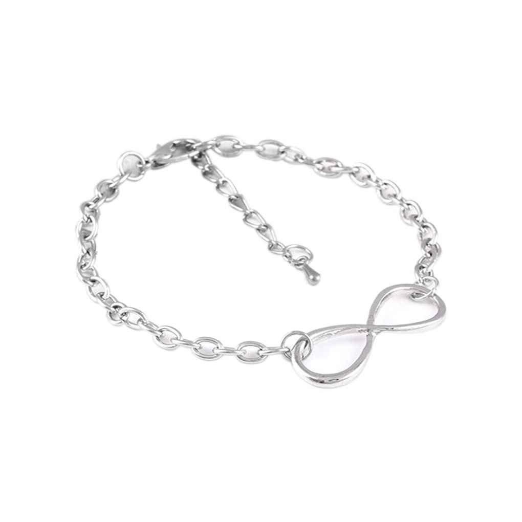 Demino Otto Forma Infinite Simbolo donne fortunate catena della mano del braccialetto di amicizia del braccialetto di Infinite Argento