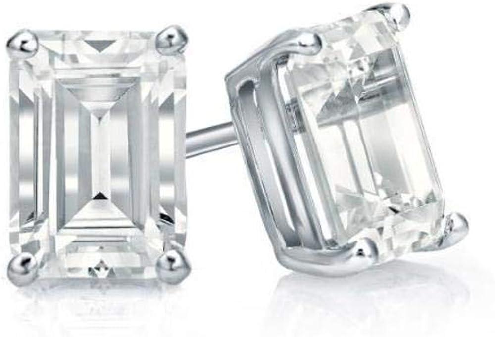 3.00 ct Round Black Cz Diamond Stud Earrings in 14k White Gold Brilliant Cut Basket Screw Back