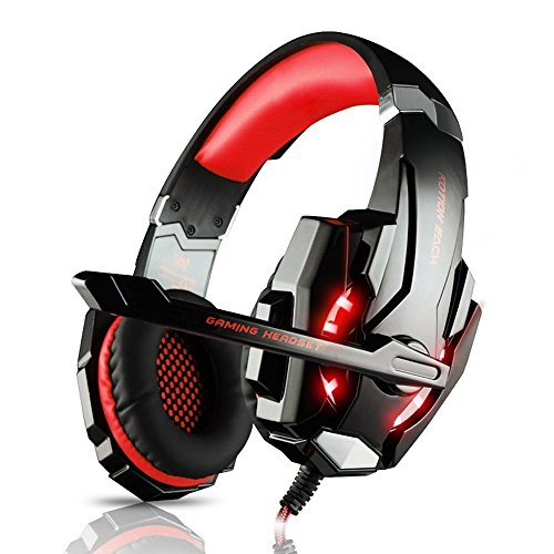 Elepawl  G9000 Gaming Headset Headphone Earphone Headband 3.5mm Stereo Jack with Mic LED Light for PS4 / Tablet / Laptop / Cell Phone - Black&Red