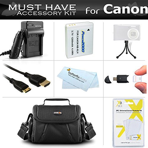 Must Have Accessory Kit For Canon PowerShot SX500 IS, SX510 HS, SX520 HS, SX530 HS, SX540 HS Digital Camera Includes Replacement (1200maH) NB-6L Battery + Ac/Dc Charger + Mini HDMI Cable + Case + More