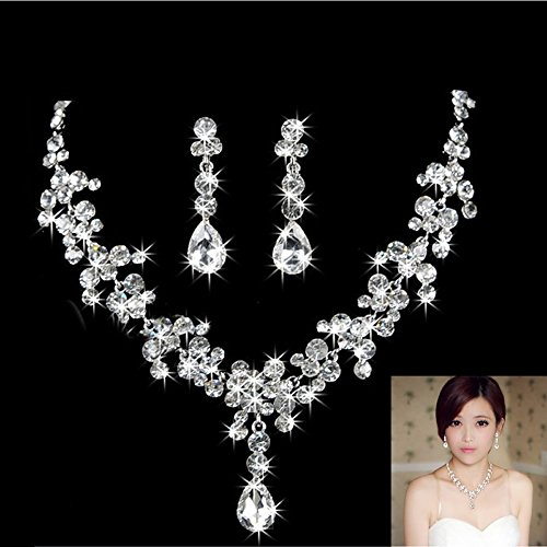 HeroNeo® Hot Prom Wedding Bridal Party Crystal Rhinestone Necklace Earring Jewelry Sets (08#)