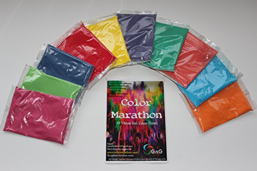 ColorMarathon Holi color powder 10 pack of 50 grams each for Holi party, color run, birthday party, photo shoot, color fight, gender reveal, Pink, Blue, light blue, green, red, yellow, purple, dark green, orange, Vermillion