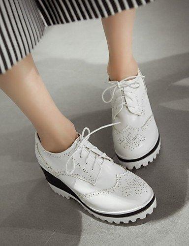 Décontracté Plateforme Blanc Beige Eu39 Similicuir us8 Chaussures Black Extérieure Arrondi Richelieu Njx Bout 2016 Cn39 Uk6 Femme Fermé Noir Iqxg8
