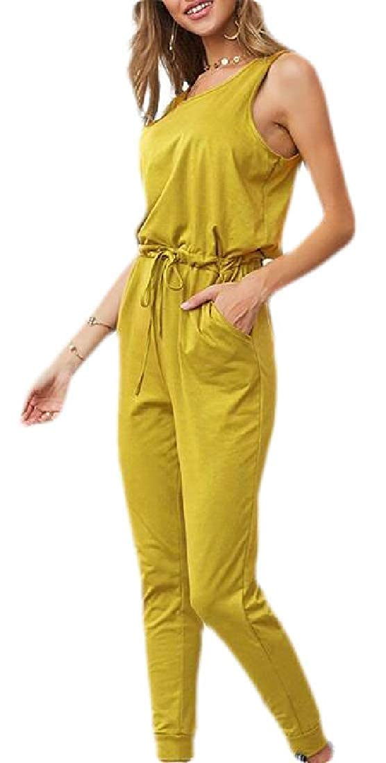 GAGA Womens Summer Solid Sleeveless Drawstring Waist Pants Rompers Jumpsuits