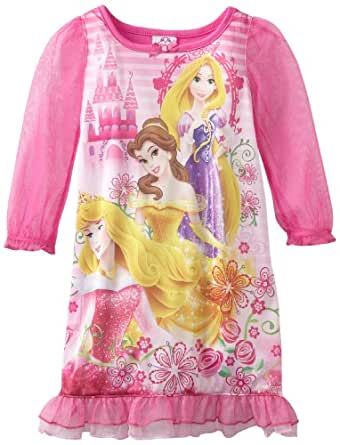 Disney Little Girls'  Princess Ready For The Ball Long Sleeve Night Gown, Hot Pink, 3T