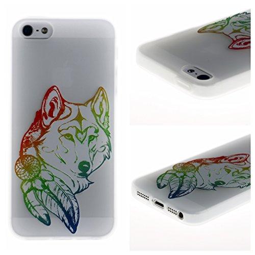 Funda iPhone 5/5S/SE,XiaoXiMi Carcasa de Silicona TPU Suave y Esmerilada Funda Ligero Delgado Carcasa Anti Choque Durable Caja de Diseño Creativo - Unicornio Lobo