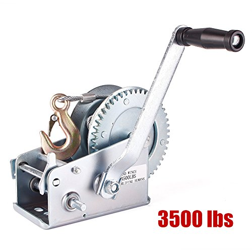 Gear Hand Winch Hand Crank Manual Boat ATV RV Trailer 33ft Cable ()