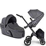 Stokke Xplory V6 Black Chassis Stroller with Brown Leatherette Handle - Black Melange with Carry Cot