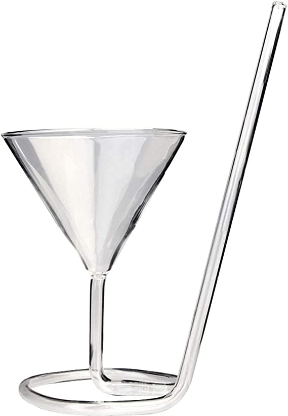 Cocktail Glass Creative Sphere Shaped Reusable Drinking Straw Cup Wine Juice Gla