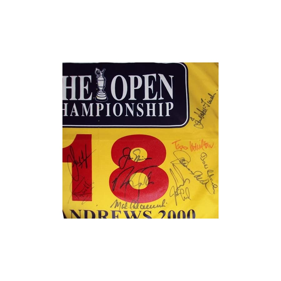 2000 British Open (St. Andrews) Golf Pin Flag Autographed by 19 Former Champions #3