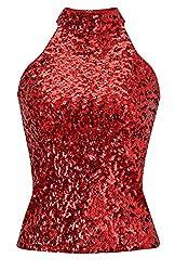 Women's Sequins Halterneck Summer Short Tank Tops