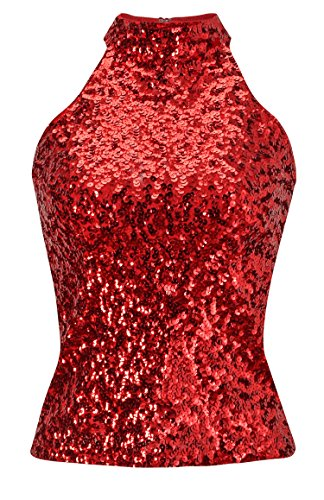 conmajestic Womens Halterneck Sequins Embellished Sleeveless Tank Top Vest