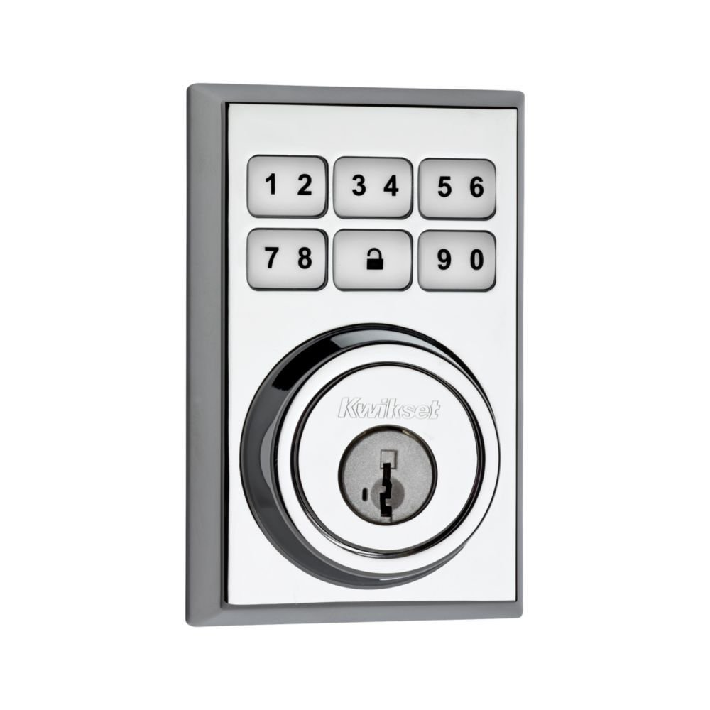 Kwikset 910 Z-Wave Contemporary SmartCode Electronic Touchpad Deadbolt, Featuring SmartKey in Polished Chrome, Works with Alexa via SmartThings or Wink