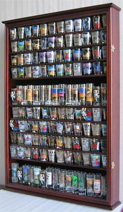 Beau Large 144 Shot Glass Shooter Display Case Holder Wall Cabinet , UV  Protection   MAHOGANY Finish