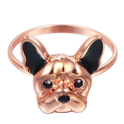 18K Gold Plated Black Ear Bulldog Charm Animal Open Band Adjustable Ring,Rose Gold Bulldogs Ladies Black Rhinestone