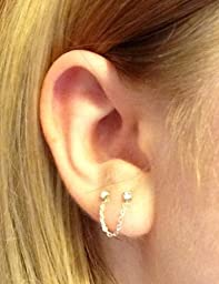 Amazon.com: Crystal Chain Double Post Sterling Silver Earrings: Stud