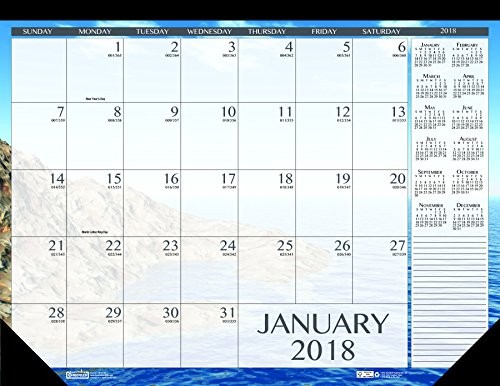 (House of Doolittle 2018 Monthly Desk Pad Calendar, Earthscapes Seascapes, 22 x 17 inches, January - December)