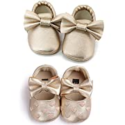 OOSAKU Infant Toddler Baby Soft Sole PU Leather Bowknots Shoes (0-6 Months, Gold+Gold A)
