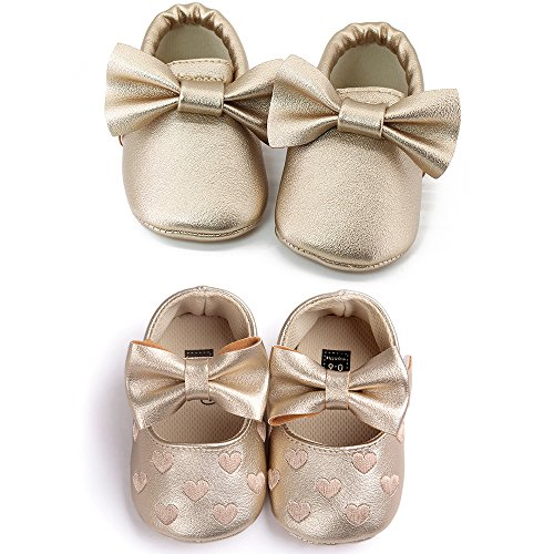 OOSAKU Infant Toddler Baby Soft Sole PU Leather Bowknots Shoes (12-18 Months, Gold+Gold A) by OOSAKU