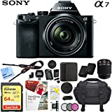 Sony a7 Full-Frame Alpha Mirrorless Digital Camera 24MP (Black) Body Only ILCE-7/B with Extra Battery Case 64GB Memory Card Deluxe Pro Bundle (Body with 28-70mm Lens Bundle)