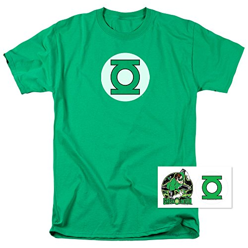 Popfunk Green Lantern Logo Officially Licensed T-Shirt & Exclusive Stickers (Medium)