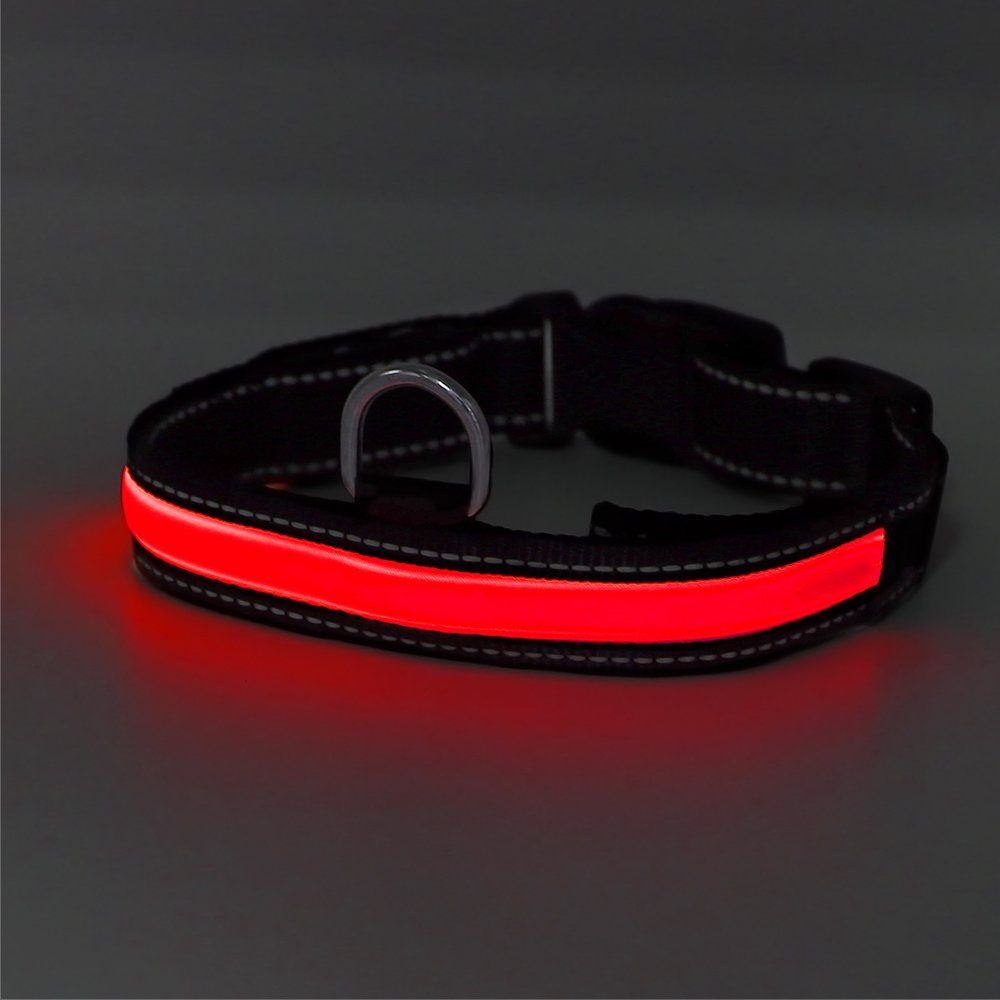 Higo LED Dog Collar,USB Rechargeable,Light Up Adjustable Nylon Fabric Reflective Led Pet Collar (L, Pink)