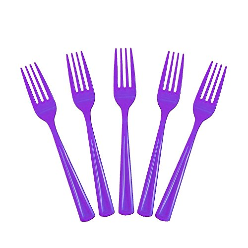 Purple Cake Fork - Exquisite Solid Color Premium Plastic Cutlery, Heavy Duty Plastic Disposable Forks - 50 Count - Purple