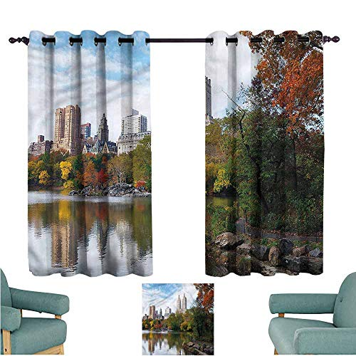 - Agoza Window Blackout Curtains City Manhattan Central Park Insulated with Grommet Curtains for Bedroom W63x63L
