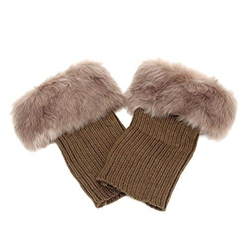 Women Winter Boots Cuffs Socks Toppers Crochet Knitted Furry Leg Warmer Short ()