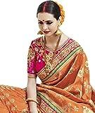 StyleLoft Ethnic Banarasi Silk Orange Fancy Saree