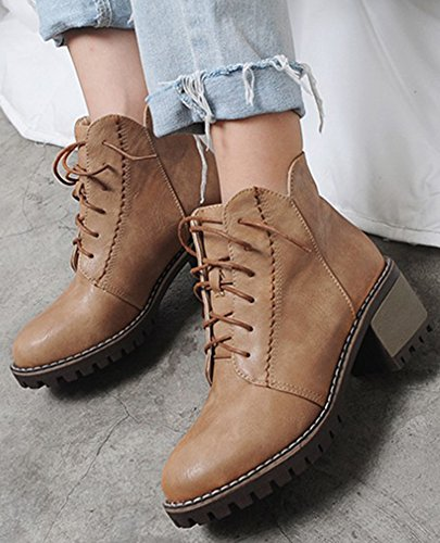 Brown High Up Mid Ankle Chunky Round Women's Easemax Warm Booites Lace Heeled Toe Cqp7vRw