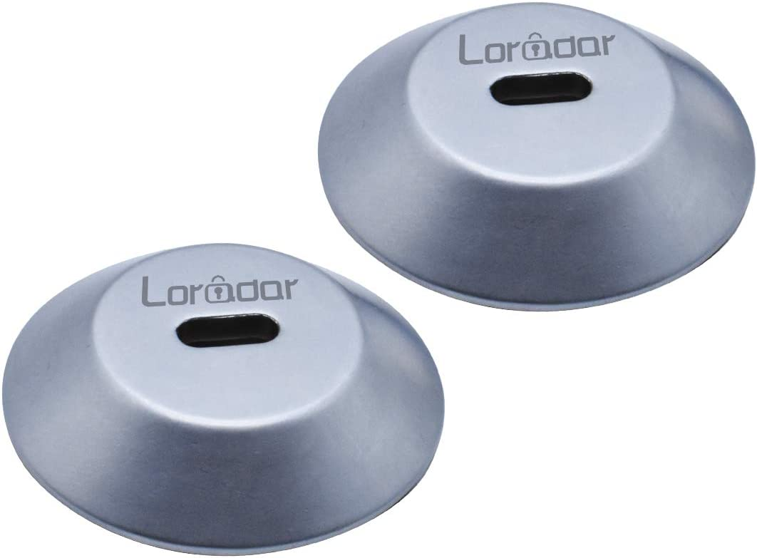 Loradar Adhesive Security Plate with Slot for Cables to Lock Down Laptops, Tablets, Monitors and Other Devices(2Pack Silver)