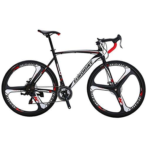 EUROBIKE XC550 21 Speed 54 Cm Frame Road Bike 700C 3-Spoke Wheels Dual Disc Brake Road Bicycle Black White
