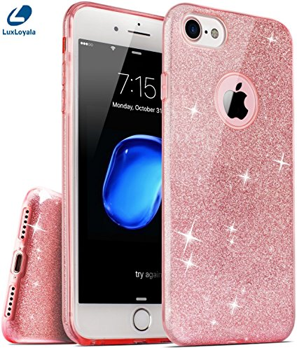 Price comparison product image Cute iPhone 7 / 7 Plus Case Clear for Girl Pink iPhone7 Plus Case Shockproof Silicone Bling Glitter Sparkle Transparent phone case for Women Luxury Bumper Crystal Slim Light i7 Plus (For iPhone 7)