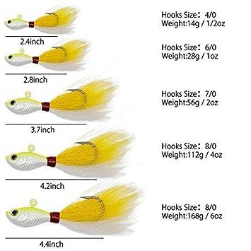 Alwonder Bucktail Jig Saltwater Freshwater Fishing Baits Fluke Lure Striper Bluefish Bass Flounder White 1//2 oz