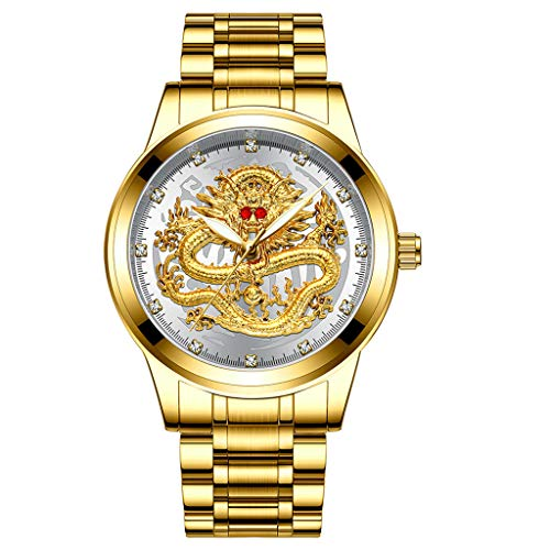 Sodoop Wrist Watches for Mens 30M Waterproof Luxury Golden Analog Quartz China Diamond Dragon Face Pattern Dial Watch, with Stainless Steel Strap Wristwatch (D)