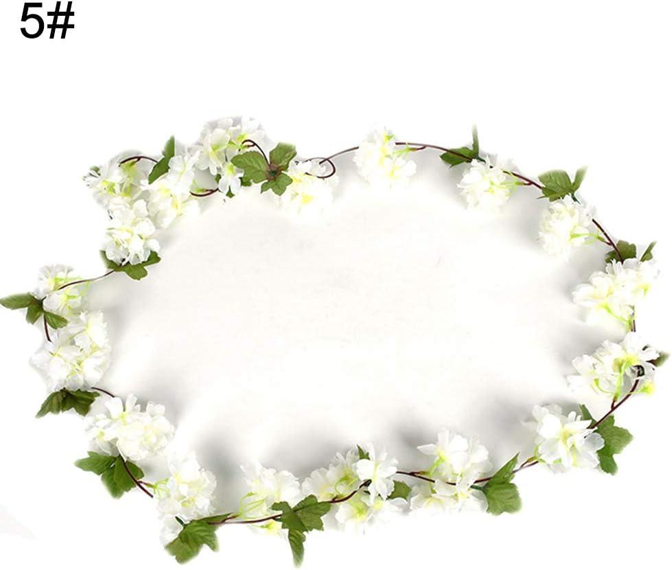 pittospwer 2 piezas flor de cerezo Guirnalda de ratán Guirnalda Fiesta Jardín Navidad Boda Decoración Champagne: Amazon.es: Jardín