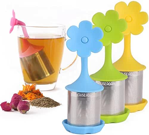 House Again Fine Mesh Tea Infuser with Drip Tray - Pack of 4 - Stainless Steel Fine Mesh Tea Cup with BPA-Free Silicone Lid - Perfect Tea Balls Tea Strainers for All Types of Loose Leaf Tea