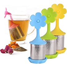 House Again Extra Fine Mesh Tea Infuser with Drip Tray - Pack of 4 - 18/8 Stainless Steel Fine Mesh Tea Cup with BPA-Free Silicone Lid - Perfect Tea Balls Tea Strainers for All Types of Loose Leaf Tea