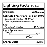 Albrillo E12 LED Candelabra Light Bulbs, 40 Watt Chandelier Bulbs Equivalent, Daylight White Decorative Candle Base, Non Dimmable LED Lamp, 6 Pack