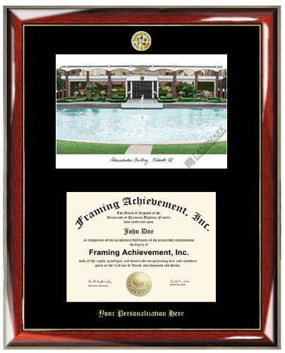 Gold Embossed Personalization University Of Central Florida UCF Lithograph Diploma  Frame   Choice Of College Major