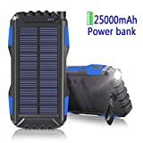 WBPINE Solar Charger 25000mAh, Solar Powered Charger [Waterproof/Shockproof/Dustproof] with Dual USB Port for iPhone,iPad,Samsung,Windows,Android Phones,Bluetooth Speaker and More(Black)