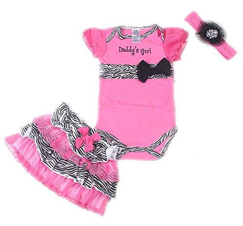 3pcs Girls Baby Newborn Rompers Bodysuit+Tutu Skirt+Headband Zebra Print Outfits