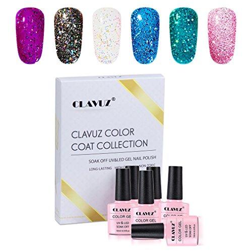 Gel Polish,CLAVUZ 6pcs Glitter Nail Polish Kit Soak Off UV L