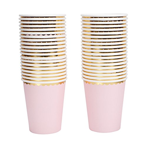 Geeklife Gold Paper Cups with Metallic Gold Dots Disposable Paper Cups 9oz for Wedding,Party and Cocktail,40 pcs
