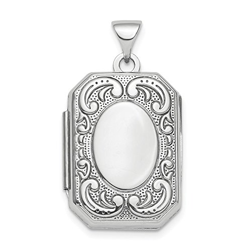 925 Sterling Silver Scroll 21mm Octagonal Photo Pendant Charm Locket Chain Necklace That Holds Pictures Shaped Fine Jewelry Gifts For Women For Her ()