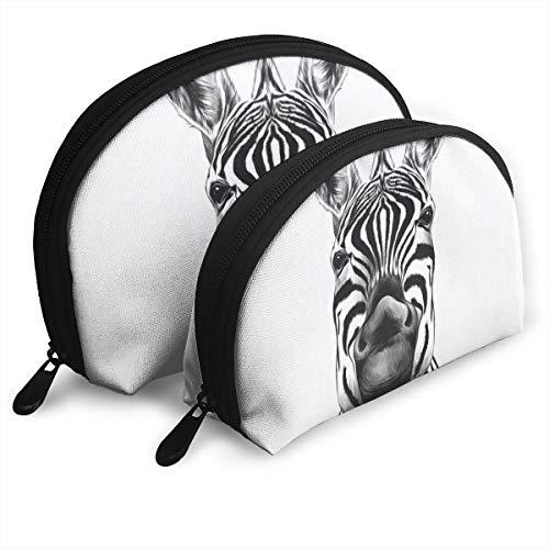 Pingshoes Makeup Bag Zebra Smiling Sketch Portable Half Moon Beauty Bags Case for Women