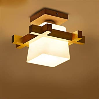 E27 Moderne Deckenleuchte Holz Glas Minimalistische Deckenlampen