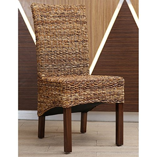 International Caravan SG-3302-2CH-IC Furniture Piece Gaby Woven Banana Dining Chair (Set of 2) by International Caravan