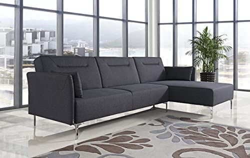 US Pride Furniture Ella Black Fabric Facing-Right Chaise Contemporary Versatile Sectional Sofa Set
